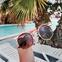 ZeroUV Womens Fashion Metal Laser Cut Criss Crossed Cat Eye Sunglasses