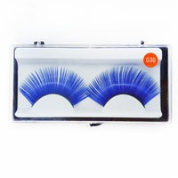 Sheer Swim Blue False Eyelashes Long Thick Drag Queen Falsies Eye Lashes Extensions for Costume Cosplay Stage Makeup