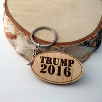 Donald Trump Keychain, Wooden Keychain, Elections 2016 Keychain, Environmental Friendly Green materials