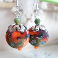 Lampwork Earrings, Christmas Fashion Handmade Glass Earrings, Handmade Lampwork Jewelry, Contemporary Jewelry Gift for Her