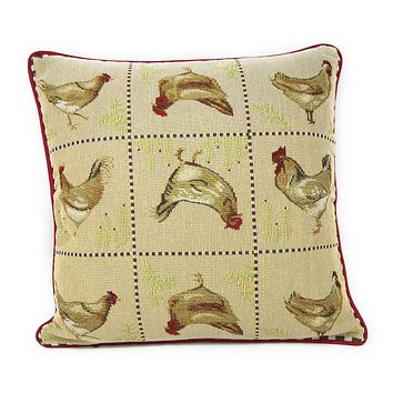 Tache Country Farmhouse Rooster Hens Woven Tapestry Cushion Cover (13139CC)