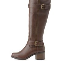 Double Buckle Riding Boots by Charlotte Russe