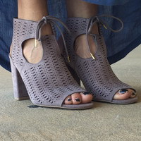 What Do You Want Peep Toe Bootie: Taupe
