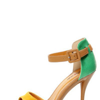 Promise Quillan Yellow and Green High Heel Sandals