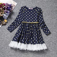 Baby Girl Dress Cotton Polka Dots Children Kids Dresses Baby Autumn Clothing For School Casual Wear Clothes Girl Belt
