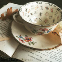 The Cup Of Knowledge ~ Vintage Fortune Teller Teacup And Saucer ~ Tea Leaf Reading ~ Alfred Meakin ~ Royal Marigold