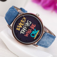 Cowboy Band Female Wristwatches with English Words Woman watches Lady Casual Wrist Watch 2015 Clock montre femme reloj