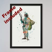 Star Wars Boba Fett Bounty Hunter Poster Watercolor Print Wall Decor Fine Art Giclee Poster Home Wall Hanging Star Wars Fans gift FRAMED
