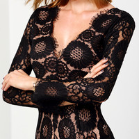 Black V Neck Hollow Back Lace Jumpsuit -SheIn(Sheinside)