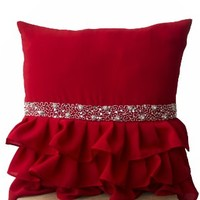 Elegant Red Ruffled Beaded Sequin Throw Pillow Cover -Decorative Pillow Cases -Red Cushion Covers -Gift Pillow -Beaded Pillows Cases -Christmas Pillow Cases -Rhinestone Pillow Covers (12x12)