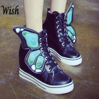 Girl's Fashion Lace-Up Women's Casual Inside Heighten Shoes with Butterfly Wings Preppy Style = 1843141636