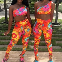 2020 sexy fashion European and American printed one-shoulder vest tights suit orange