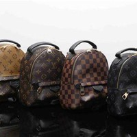 """Louis Vutitton"" Retro Casual Fashion Classic Letter Logo Print Backpack Mini Double Shoulder Bag"