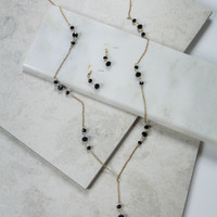 Black Beaded Necklace and Earring Set In Gold