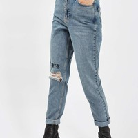 MOTO Chinese Symbol Embroidered Mom Jeans | Topshop