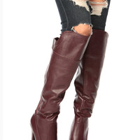 Wine Faux Leather Knee High Platform Boots