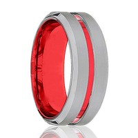 BMW Polished Red and Silver Tungsten Men's Wedding Band with Beveled Edges