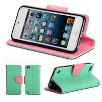GMYLE Robin egg Blue Turquoise and Pink Two colors PU Leather Interior Wallet Stand Case Cover For Ipod Touch 5th Generation