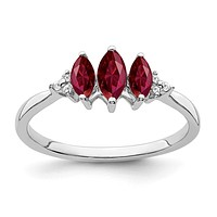 14k White Gold Marquise Created Ruby and Real Diamond 3-stone Ring