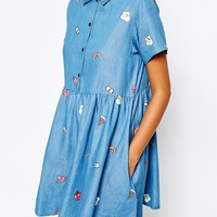 Lazy Oaf Button Front Shirt Dress In Denim With Patches