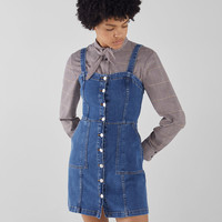 Denim dress with buttons - Dresses - Bershka United States