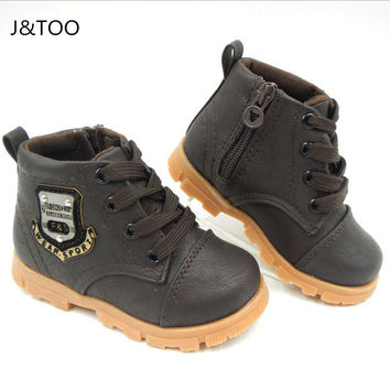 2016 Autumn boys baby Snow boots for girls children Martin boots kids ankle zip sneakers girl waterproof toddler shoes