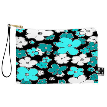 Madart Inc. Puffy Flower Turquoise Black Pouch