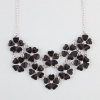 Full Tilt 2 Row Flower Statement Necklace Black One Size For Women 23230510001