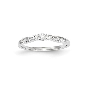 14kt White Gold Polished 3 Stone Real Diamond Ring
