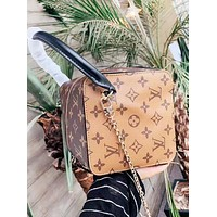 LV New fashion monogram print leather shoulder bag women