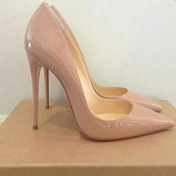 GENSHUO Women Pumps Heeled Shoes Nude Pointed Toe Sexy High Heel Shoes Stiletto High Heels Ladies 12 10 8 cm Big Size 42