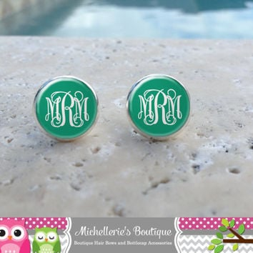 Teal Monogram Earrings, Monogram Jewelry, Monogram Accessories, Monogram Studs, Monogram Leverbacks, Monogrammed Gifts under 10