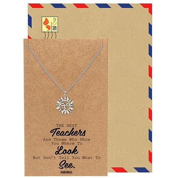 Kamila Sunflower Pendant Necklace for Women, Best Friend Gifts and Greeting Card