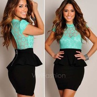 Women's Sexy Floral Lace Black Peplum Party Cocktail Dress Tunic Bodycon Dresses VVF = 5659254337