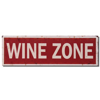 """Decorative Wood Wall Hanging Sign Plaque """"Wine Zone"""" Red White Home Decor"""