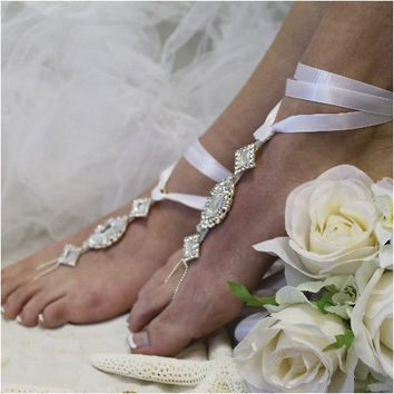ENCHANTED wedding barefoot sandals - white