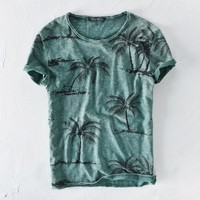 Beach tree print cotton linen top