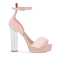 Fancy Faux Fur Platform Lucite Heels Blush Pink