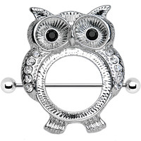 Shimmering Owl Nipple Shield 34mm Barbell | Body Candy Body Jewelry