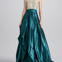 One-Shoulder Beaded-Bodice Ball Gown