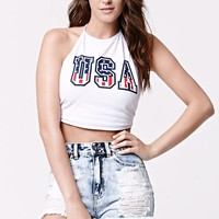 LA Hearts USA Flag Two-Tie Cropped Halter Tank Top - Womens Tee - White