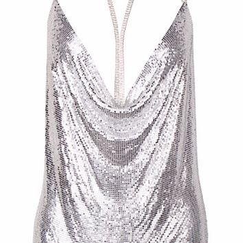 Trinity Silver Sequined Choker Mini Dress