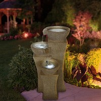 Pure Garden Cascade Bowls Fountain with LED Lights