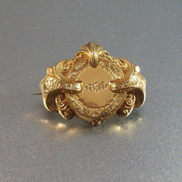 Vintage Victorian Pinchbeck Brooch Pendant, Ornate Engraving Raised Layered