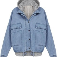 Women's Long Sleeve Drawstring Denim Jacket Outerwear with Hooded Vest