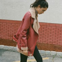 UO Oversized Faux Leather Aviator Jacket | Urban Outfitters