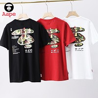 AAPE BAPE Summer Women Men Casual Camouflage Logo Print Short Sleeve T-Shirt Top Blouse