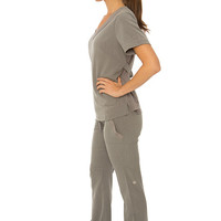 Gray Nursing Uniform Medical Scrubs Dental Hygienist Top Shirt