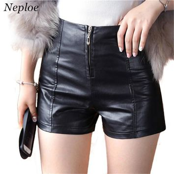 Neploe Autumn Winter Female Shorts Slim Casual Leather Loose High Waist Shorts Women PU Zipper Skinny Cool Shorts 66154