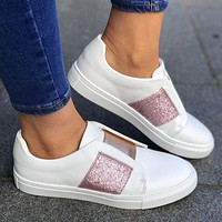 Fashionable casual sports shoes with elastic pedal large size lovers' loafers and flat flats Pink